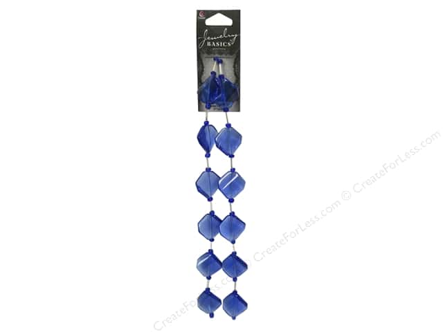 Cousin Basics Glass Beads 3/4 in. Square Twist Blue 12 pc.