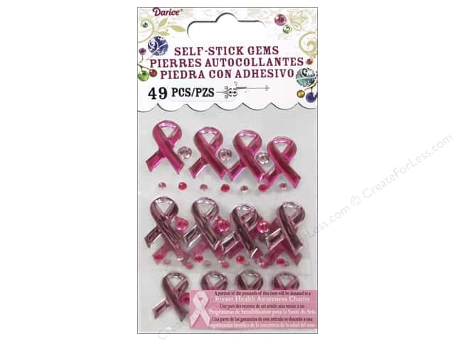 Darice Stick On Rhinestones - Breast Cancer Awareness 49 pc. Pink