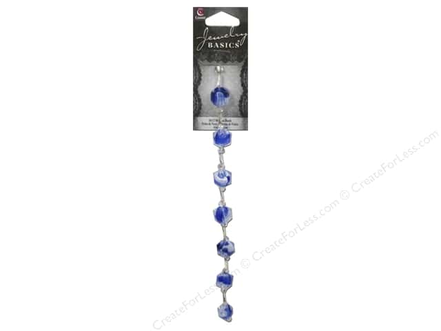 Cousin Basics Glass Mix Beads 3/8 in. Cube Blue 20 pc.