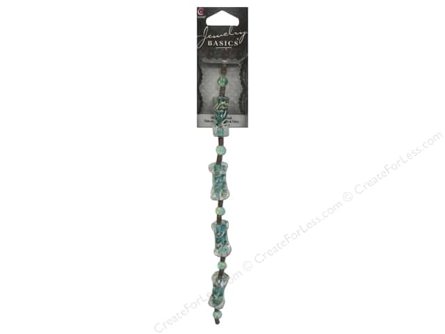 Cousin Basics Glass and Metal Beads 1 in.Tube Teal