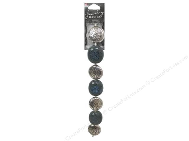 Cousin Basics Metal and Ceramic Beads 1 1/16 in. Teal Silver 7 pc.