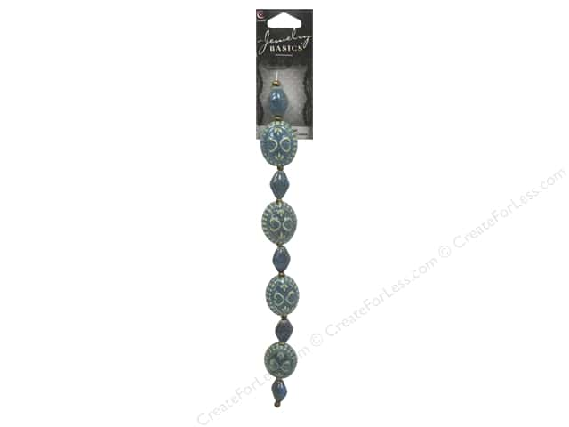 Cousin Basics Glass and Ceramic Beads 1 in. Teal 9 pc.