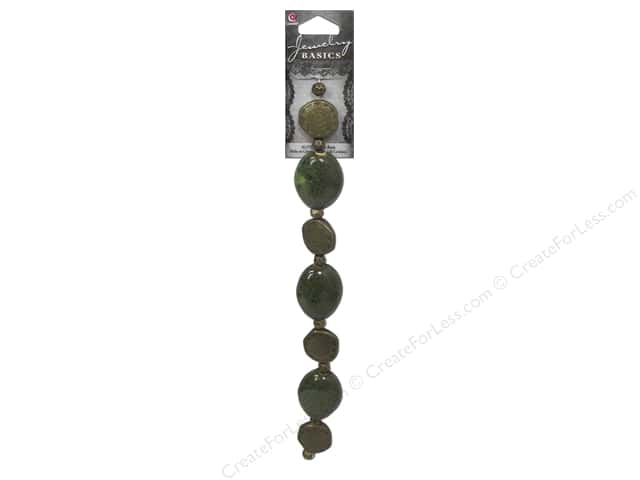 Cousin Basics Metal and Ceramic Beads 1 1/16 in. Speckle Green 15 pc.