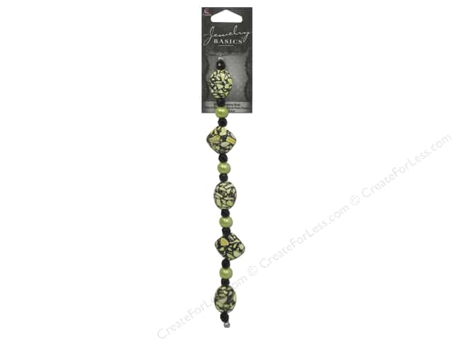 Cousin Basics Gemstone Beads 11/16 in. Black Green 19 pc.