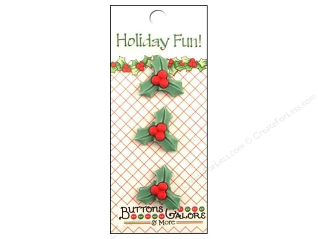 Buttons Galore Holiday Fun Buttons 3 pc. Fun Holly