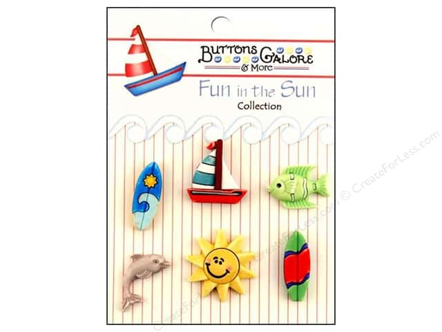 Buttons Galore Fun In The Sun Buttons 6 pc. Surfs Up