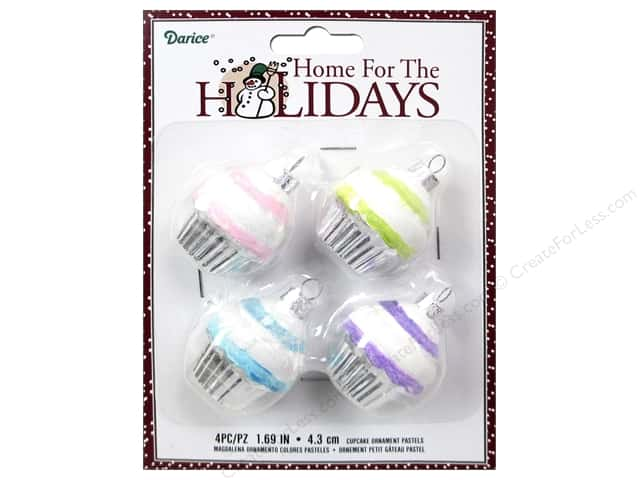 Darice Holiday Ornament Cupcake Pastels 4pc