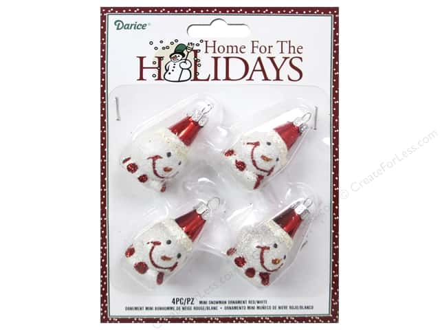 Darice Decor Holiday Ornament Mini Snowman Red/White 4pc