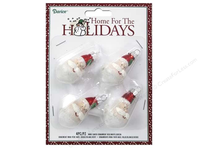Darice Decor Holiday Ornament Mini Santa Red/White/Green 4pc