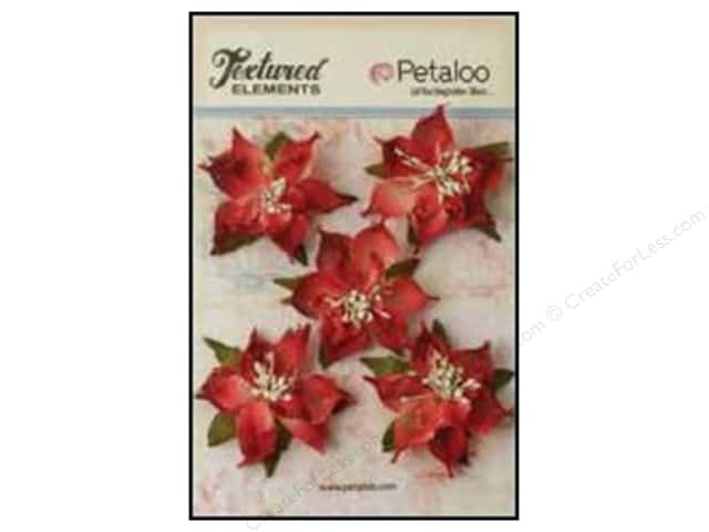 Petaloo Textured Elements Burlap Pointsettias Red
