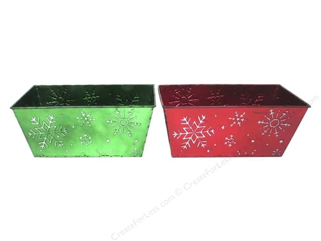 "Darice Decor Pot Tin Snowflake Rectangle 10""x 4"" Assorted"