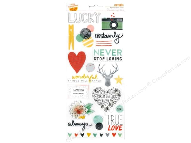 American Crafts Stickers Amy Tangerine Stitched Accents & Phrase