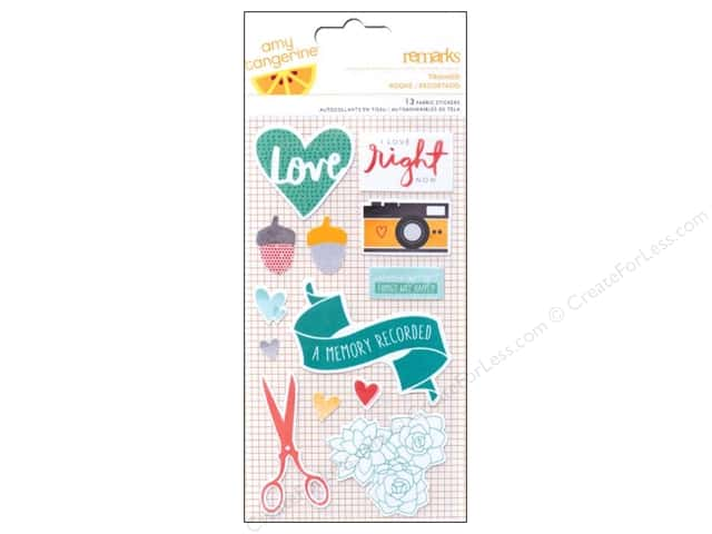 American Crafts Fabric Stickers Amy Tangerine Stitched Trimmed