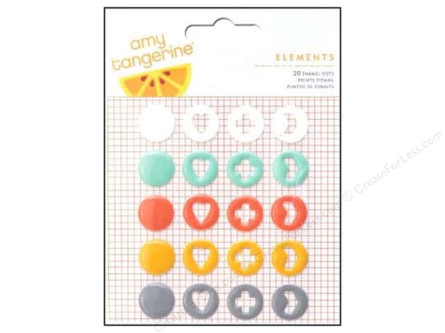 American Crafts Enamel Dots 20 pc. Amy Tangerine Stitched