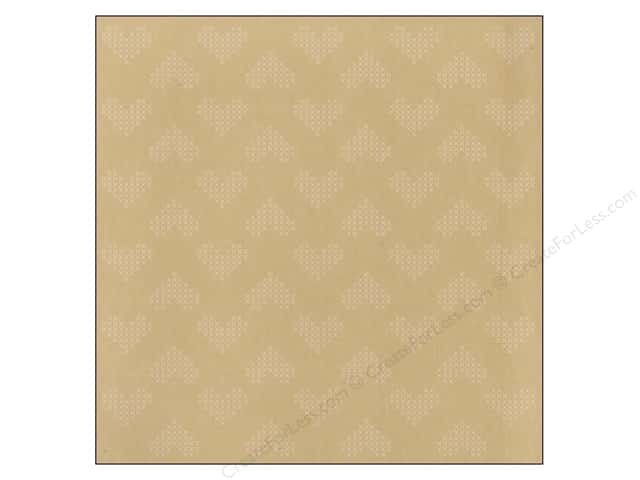 American Crafts 12 x 12 in. Paper Amy Tangerine Stitched Heartfelt Kraft (25 sheets)