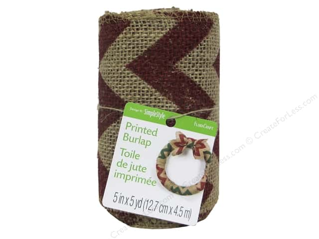 FloraCraft Burlap Ribbon 5 in. x 5 yd. Chevron Red