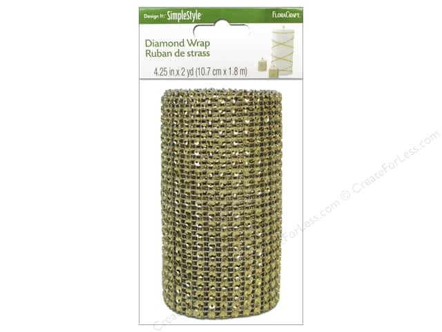 FloraCraft Diamond Wrap Ribbon 4 1/4 in. x 2 yd. Gold