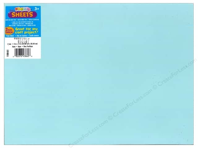 Darice Foamies Foam Sheet 9 x 12 in. 2 mm. Aqua (10 pieces)