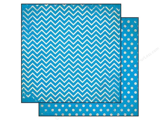 Bo Bunny 12 x 12 in. Paper Double Dot Chevron Brilliant Blue (25 sheets)