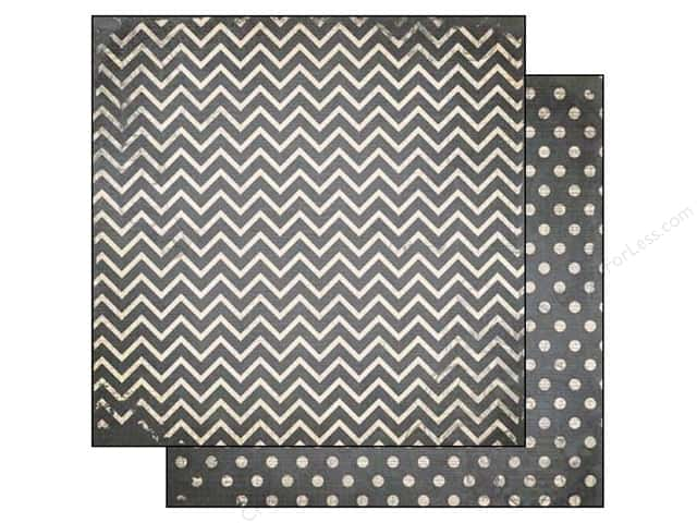 Bo Bunny 12 x 12 in. Paper Double Dot Chevron Charcoal
