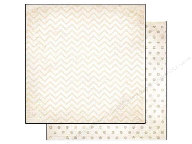 Bo Bunny 12 x 12 in. Paper Double Dot Chevron Sugar (25 sheets)