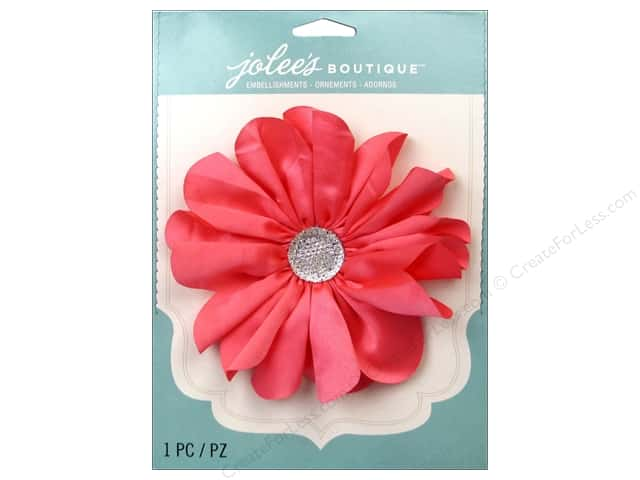 Jolee's Boutique Stickers Le Fleur Flower Large with Gem Coral