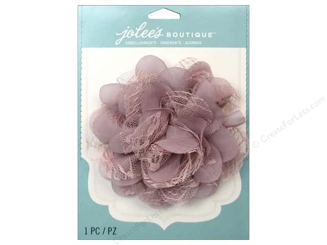 Jolee's Boutique Stickers Le Fleur Flower Large With Gem Lace Mauve
