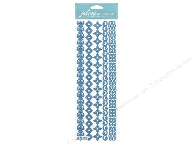 Jolee's Boutique Stickers Border Silhouette Glitter Blue