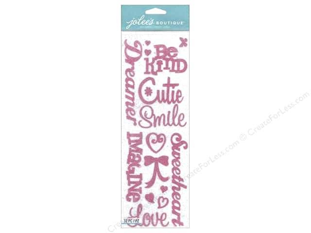 Jolee's Boutique Stickers Silhouette Word Girl Glitter Pink