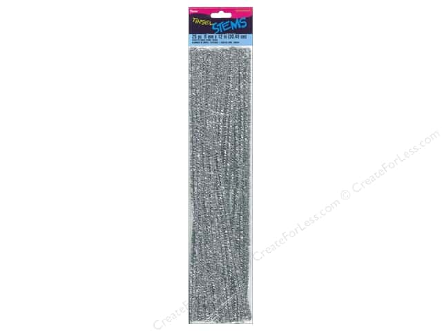 Darice Chenille Stems 6 mm x 12 in. Tinsel Silver 25 pc.