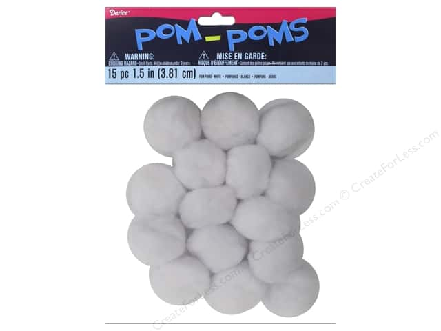 Darice Pom Poms 1 1/2 in. (38 mm) White 15 pc.