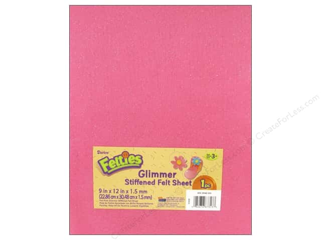 Darice Felties Stiffened Felt Sheet 9 x 12 in. Glimmer Hot Pink (5 sheets)