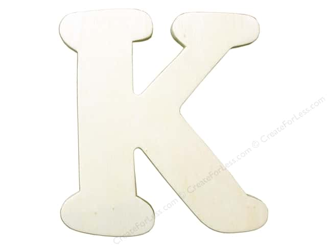"Darice Unfinished Wood Letter 4 1/4 in. ""K"""