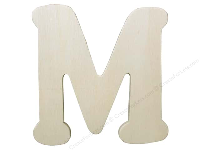 "Darice Unfinished Wood Letter 4 1/4 in. ""M"" (12 pieces)"