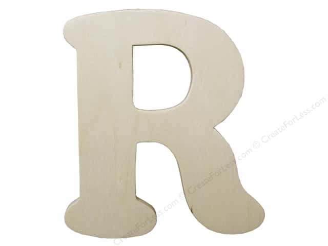 "Darice Unfinished Wood Letter 4 1/4 in. ""R"" (12 pieces)"
