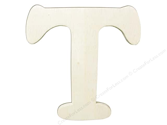 "Darice Unfinished Wood Letter 4 1/4 in. ""T"" (12 pieces)"