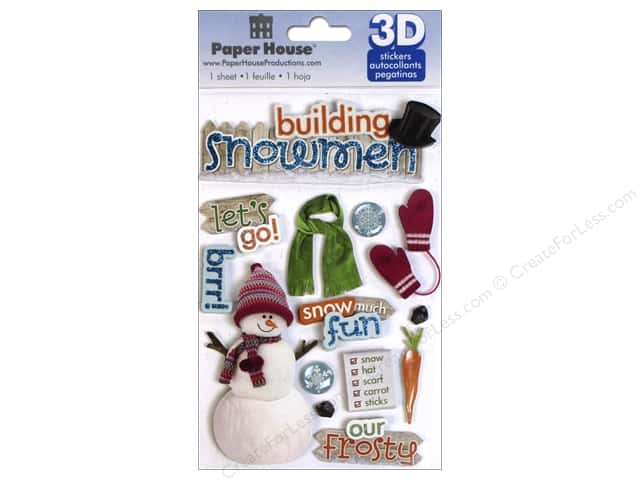 Paper House Sticker 3D Building Snowman