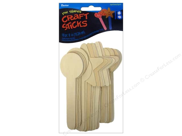 Darice Wood Topper Sticks 6 in. Shapes 18 pc.