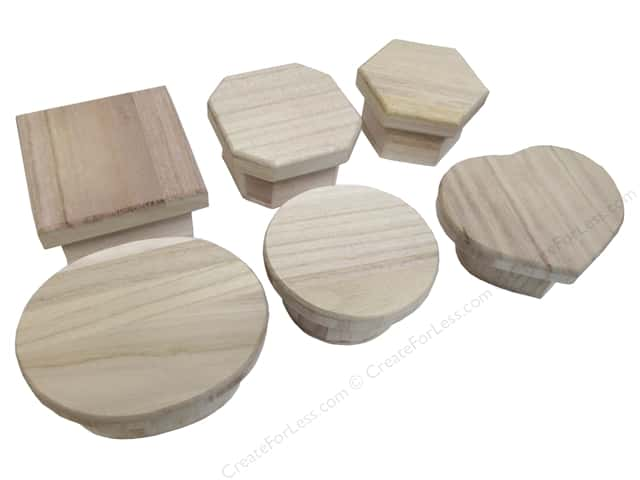 Darice Wood Boxes with Magnetic Lids 2 1/2 x 4 in. Assortment (12 pieces)