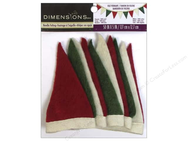 Dimensions 100% Wool Felt Embellishment Holiday Small Pennant Banner