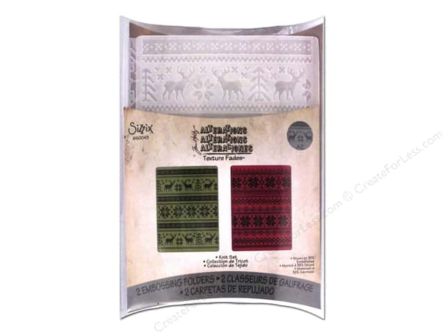 Sizzix Texture Fades Embossing Folders 2 pc. Holiday Knit Set