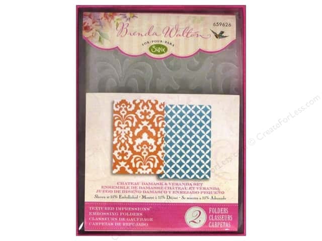 Sizzix Textured Impressions Embossing Folders 2 pc. Chateau Damask & Veranda Set