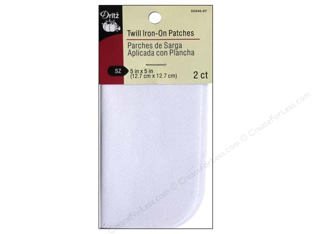 "Dritz Patch Iron On 5""x 5"" Twill White 2pc"