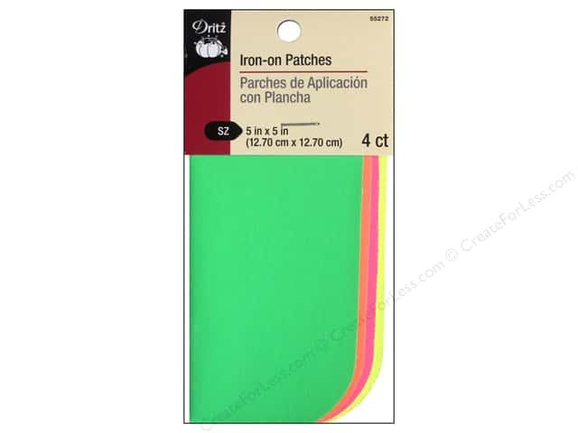 "Dritz Patch Iron On 5""x 5"" Poplin Neon Assorted 4pc"