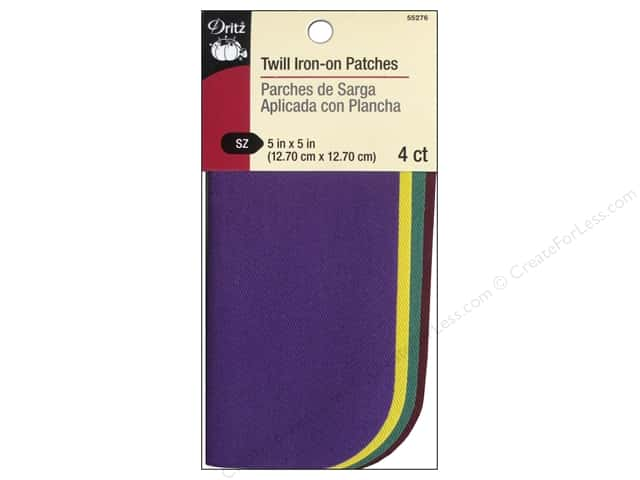 "Dritz Patch Iron On 5""x 5"" Twill Assorted School Colors 4pc"
