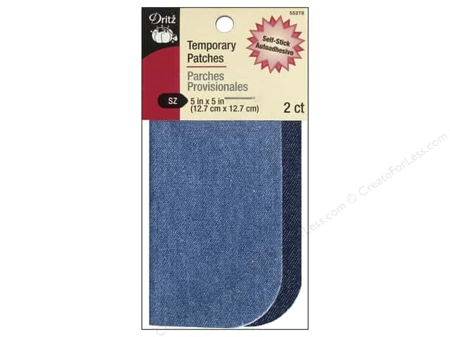 "Dritz Patch Stick On 5""x 5"" Denim Assorted Blue 2pc"