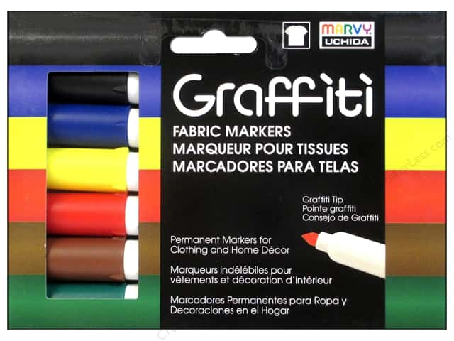 Marvy Uchida Graffiti Fabric Markers Set 6 pc. Primary