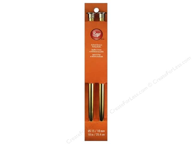 Boye Single Point Knitting Needles Aluminum 10 in. Size 15 (10 mm)
