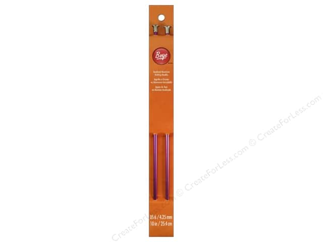 Boye Single Point Knitting Needles Aluminum 10 in. Size 6 (4.25 mm)