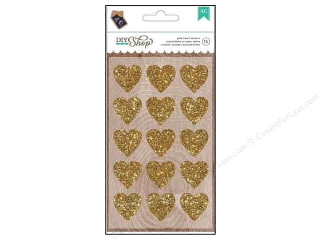 American Crafts Stickers DIY Shop Glitter Gold Hearts